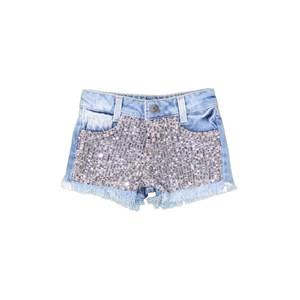 Short Jeans Com Paetê Prata