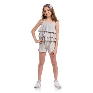 Short Lurex Feminino Infantil Com Bolsos Laterais Caqui