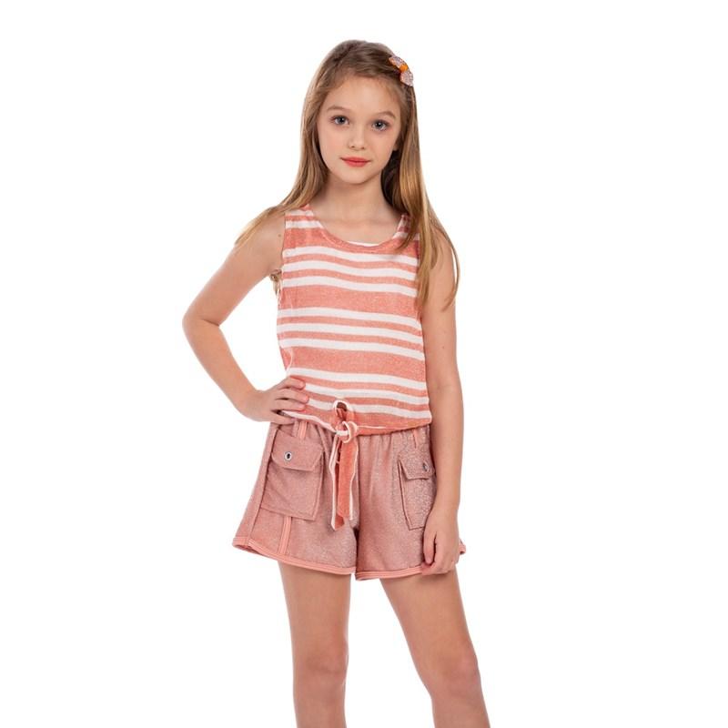 Short Lurex Feminino Infantil Com Bolsos Laterais Rose