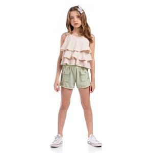 Short Lurex Feminino Infantil Com Bolsos Laterais Verde