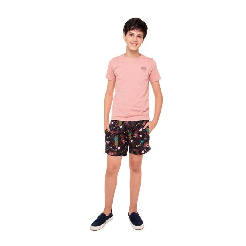 Short Masculino Em Nylon Estampado Preto