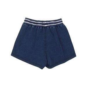 Short saia teen com bolso falso e cos elástico em malha jeans AZUL JEANS