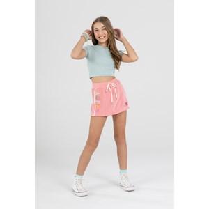 """Short saia teen em tecido atoalhado vintage com bordado """"ENJOY"""" detalhe de cadarço lateral CORAL"""