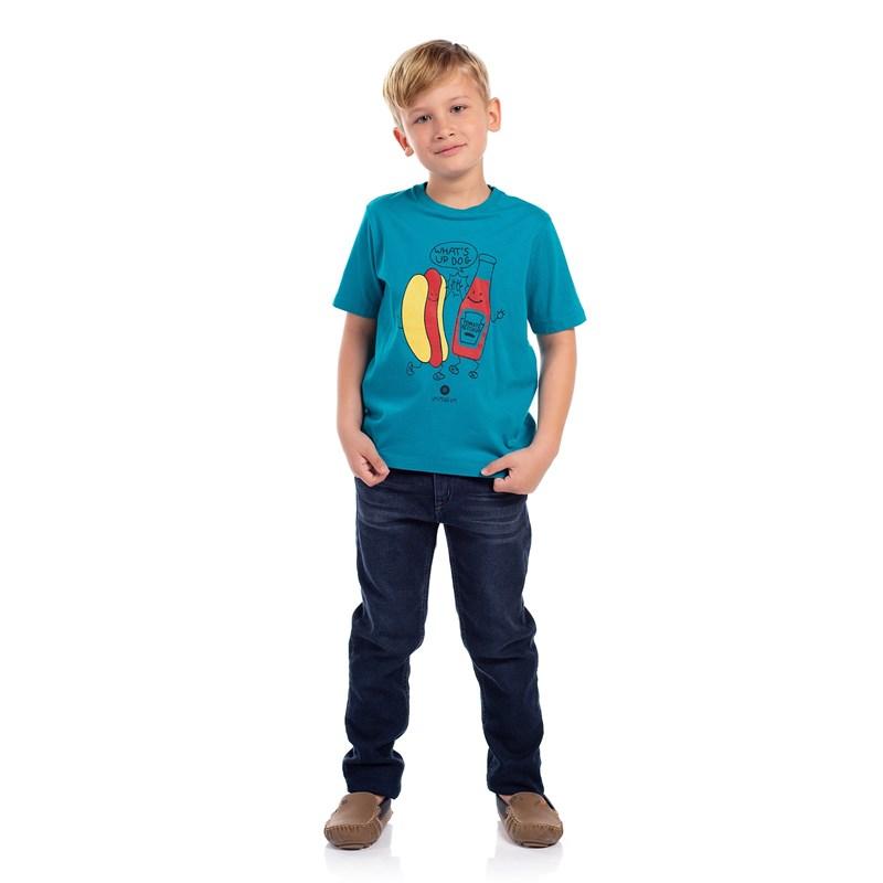 T-Shirt Algodão Sustentável Estampa Divertida Az Turquesa