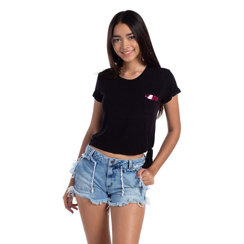 T-Shirt Bolso Frontal Amarração Lateral Preto