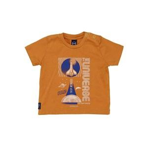 T-Shirt Com Estampa Frontal Ocre
