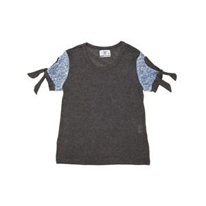 T-Shirt  Com Paetê Amarração Nas Mangas Azul