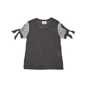 T-Shirt  Com Paetê Amarração Nas Mangas Prata