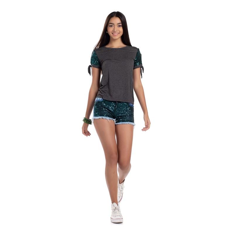 T-Shirt  Com Paetê Amarração Nas Mangas Verde
