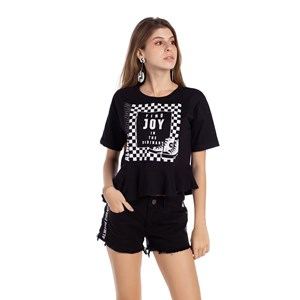 T-Shirt Cropped Babado Godê Preto
