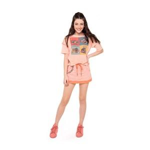 T-Shirt Cropped Frente Transpassada Laranja Claro