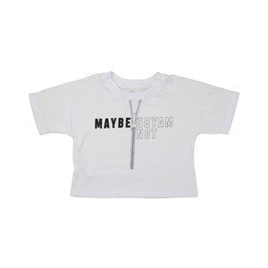 """T-Shirt Cropped """"Maybe - Maybe Not"""" Branco"""