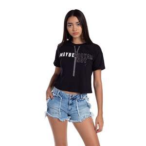 """T-Shirt Cropped """"Maybe - Maybe Not"""" Preto"""