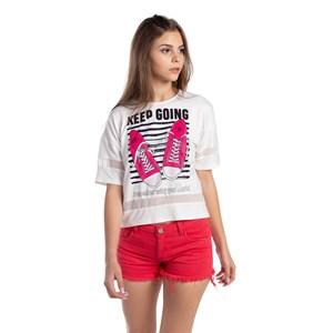 T-Shirt Cropped Recorte Nas Mangas E Nas Barras Pink