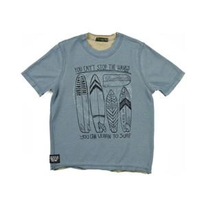 T-Shirt Dupla Face Masculina Infantil / Kids Em Malha Dupla Face - Um Mais Um Azul