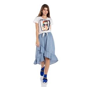 T-Shirt Estampa E Amarração Frontal Laranja Escuro