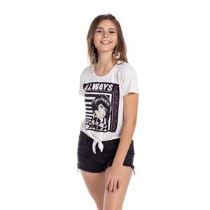 T-Shirt Estampa E Amarração Frontal Preto