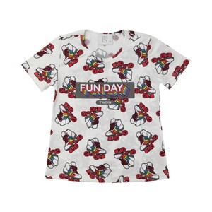T-Shirt Feminina Infantil / Teen Em Malha Com Lycra Off White - Twoin Vermelho