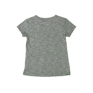 T-Shirt Feminina Infantil / Teen Em Malha Flame Com Aplique De Lantejoula - Twoin Mescla Escuro