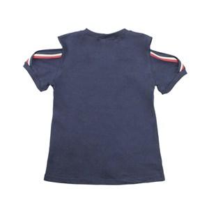 T-Shirt Feminina Infantil / Teen Em Malha Penteada Com Aplique De Termocolante - Twoin Marinho
