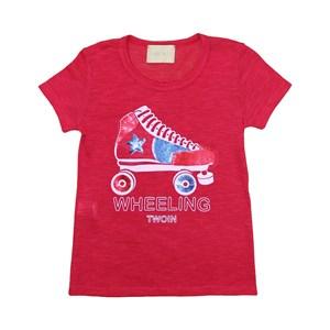 T-Shirt Feminina Infantil / Teen Em Malha Tricô Flame Com Aplique De Lantejoula - Twoin Vermelho