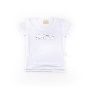 T-Shirt Feminina Infantil / Teen Em Tule Com Elastano - Twoin Branco