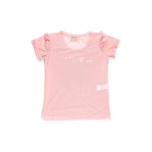 T-Shirt Feminina Infantil / Teen Em Tule Com Elastano - Twoin Rosa Claro