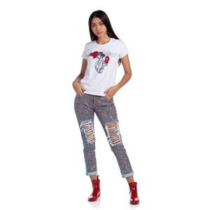 T shirt feminina teen estampa de coracao e flores com paete BRANCO