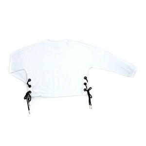 T-Shirt Feminino Infantil / Teen Em Meia Malha Penteada /Estampa E Ilhos C/Cadarço Nas Laterais - Tw Branco