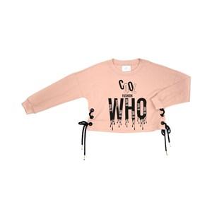 T-Shirt Feminino Infantil / Teen Em Meia Malha Penteada /Estampa E Ilhos C/Cadarço Nas Laterais - Tw Rosa Claro