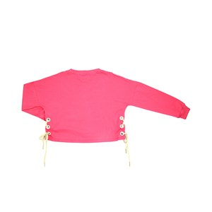 T-Shirt Feminino Infantil / Teen Em Meia Malha Penteada /Estampa E Ilhos C/Cadarço Nas Laterais - Tw Pink