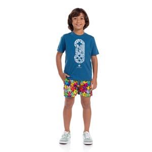 T-Shirt Infantil Algodão Sustentável Petroleo