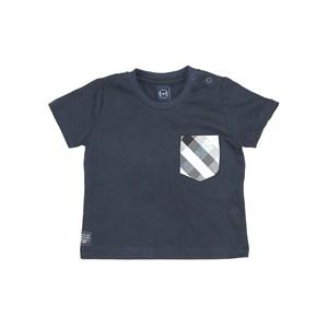 T-Shirt Infantil / Baby Em Meia Malha Penteada Com Detalhe No Bolso Em Xadrez - Um Mais Um Marinho
