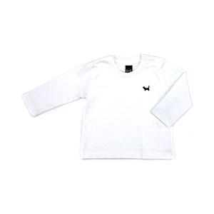 T-Shirt Infantil / Baby Em Meia Malha Penteada Com Patch De Cachorrinho - Um Mais Um Branco