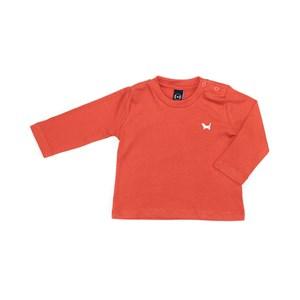 T-Shirt Infantil / Baby Em Meia Malha Penteada Com Patch De Cachorrinho - Um Mais Um Laranja Escuro