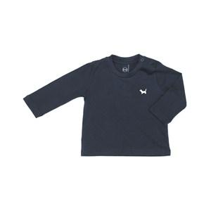 T-Shirt Infantil / Baby Em Meia Malha Penteada Com Patch De Cachorrinho - Um Mais Um Marinho
