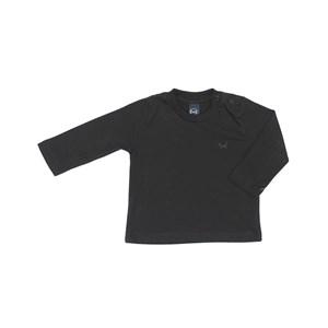 T-Shirt Infantil / Baby Em Meia Malha Penteada Com Patch De Cachorrinho - Um Mais Um Preto