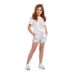 T-Shirt Infantil Feminina Para Colorir Com Canetinhas Hidrográficas Cru
