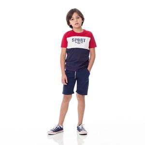 T-Shirt Infantil / Kids Em Malha Com Estampa Frontal E Recortes - Um Mais Um Marinho