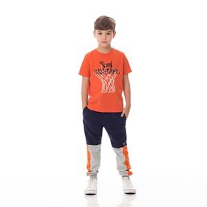 T-Shirt Infantil / Kids Em Malha Com  Estampa Frontal - Um Mais Um Laranja Escuro