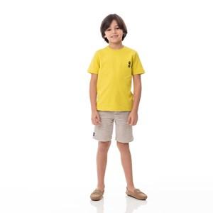T-Shirt Infantil / Kids Em Meia Malha Penteada Com Estampa  Frente E Costas - Um Mais Um Amarelo Canario