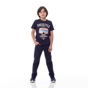 T-Shirt Infantil / Kids Em Meia Malha Penteada Com Estampa Frontal E Bordado De Paetê - Um Mais Um Marinho