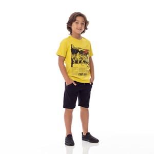 T-Shirt Infantil / Kids Em Meia Malha Penteada Com Estampa Frontal E Bordado - Um Mais Um Amarelo Canario