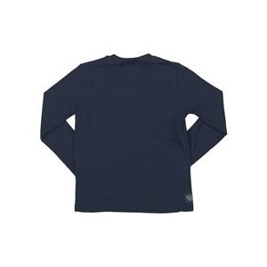 T-Shirt Infantil / Kids Em Meia Malha Penteada Com Estampa Frontal E Patch De Couro Sobreposto - Um Marinho