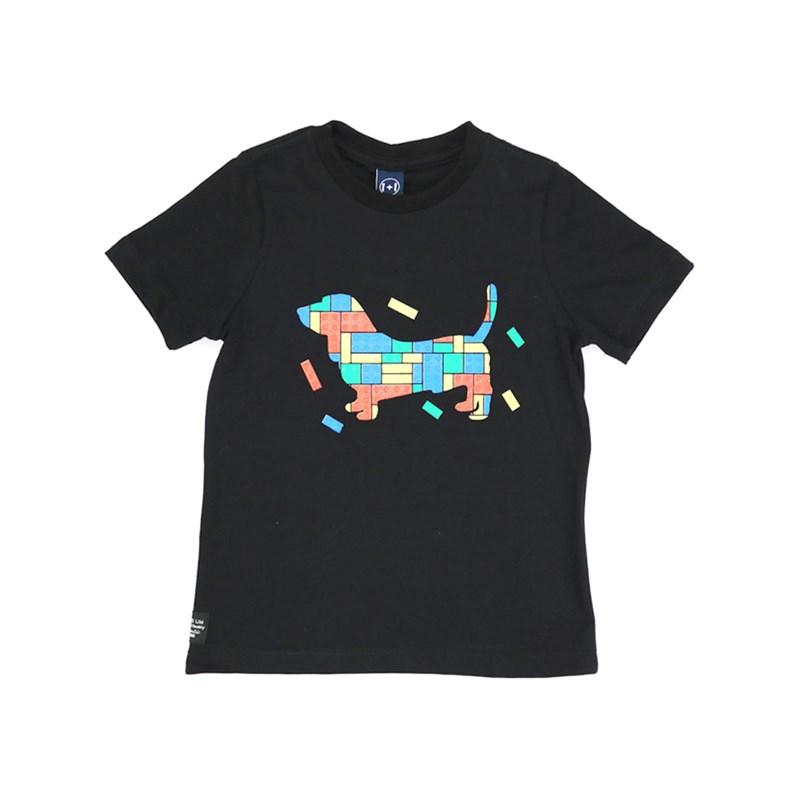 T-Shirt Infantil / Kids Em Meia Malha Penteada Com Estampa Frontal Em Relevo - Um Mais Um Preto