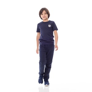 T-Shirt Infantil / Kids Em Meia Malha Penteada Com Estampa Frontal - Um Mais Um Marinho