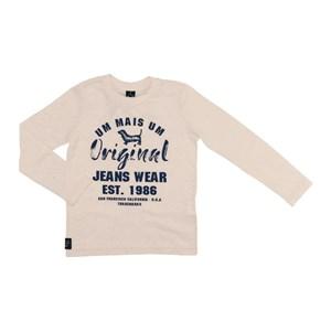 T-Shirt Infantil / Kids Em Meia Malha Penteada Com Estampa Frontal - Um Mais Um Pessego