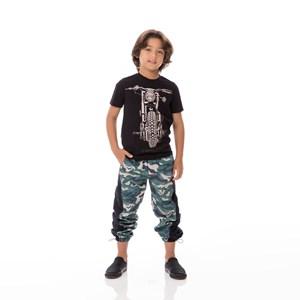 T-Shirt Infantil / Kids Em Meia Malha Penteada Com Estampa Frontal - Um Mais Um Preto