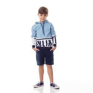 T-Shirt Infantil / Kids Em Meia Malha Penteada Com Recortes E Estampa Frontal - Um Mais Um Azul Claro