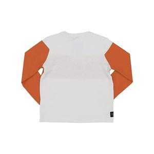 T-Shirt Infantil / Kids Em Meia Malha Penteada Com Recortes E Estampa Frontal - Um Mais Um Laranja Escuro